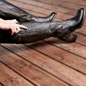 🆕BED STU Knee High Tall BOOT Black Distressed